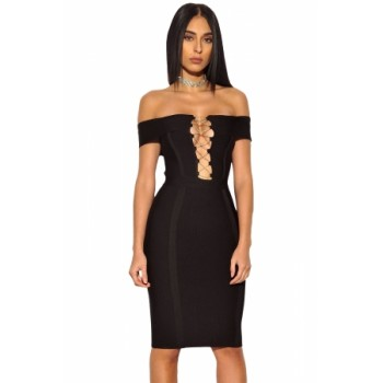 Gold Chain Crisscross Lace up Red Bandage Dress Black