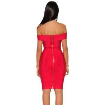 Gold Chain Crisscross Lace up Red Bandage Dress Black