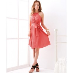 Graceful Off-The-Shoulder Solid Color Chiffon Dress With Petticoat For Women