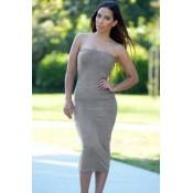 Gray Strapless Party Midi Dress