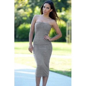 Gray Strapless Party Midi Dress