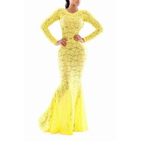 Hollow Out Design Long Sleeve Round Collar Floor-Length Mermaid Dress For Women yellow