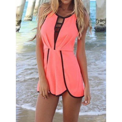 Hollow Out Design Nipped Waist Ruched Sleeveless Round Collar Jumpsuit For Women pink