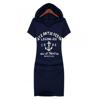 Hooded Letter Print Short Sleeve Casual Dress For Women
