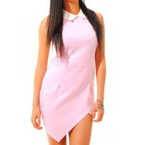 Irregular Hem Design Packet Buttock Stylish Flat Collar Sleeveless Women's Dress pink black