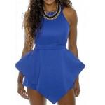 Irregular Hem Solid Color Fashionable Round Collar Sleeveless Women's Dress blue