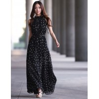 Keyhole Neckline Polka Dot Sleeveless Chiffon Maxi Dress With Belt  BLACK RED