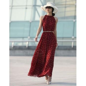 Keyhole Neckline Polka Dot Sleeveless Chiffon Maxi Dress With Belt  BLACK RED
