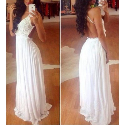 Lace Splicing Sleeveless Backless V-Neck Wide Hem Sexy Style White Dress For Women white