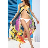 Lace-Up Design Sleeveless Backless Sexy Women's Print Cover yellow blue and black