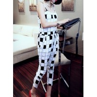Lace-Up Fashion Spaghetti Straps Checked Pocket Design Jumpsuit For Women white black
