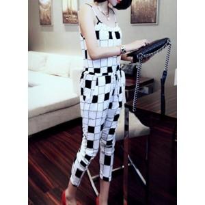 Lace-Up Fashion Spaghetti Straps Checked Pocket Design Jumpsuit For Women white black