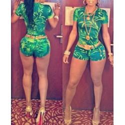 Leaf Print Short Sleeve Round Collar Zipper Closure Jumpsuit For Women Green