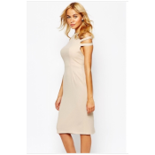Love Pleated Pencil Dress with Cut out Shoulder