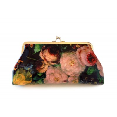 Mature Women's Clutch Wallet With Kiss-Lock Closure and Floral Print Design