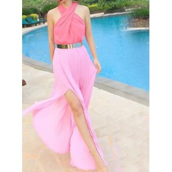 Off The Shoulder Sleeveless Nipped Waist Pleated Hem Slit Side Design Dress For Women