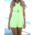 Off The Shoulder V-Neck Sleeveless Bare Back Design Solid Color Jumpsuit For Women green