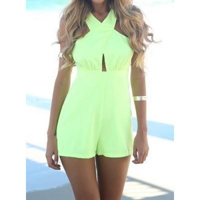 Off The Shoulder V-Neck Sleeveless Bare Back Design Solid Color Jumpsuit For Women green