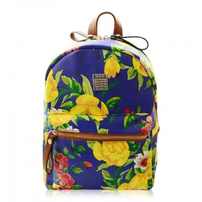 Outdoor Women's Satchel With Floral Print and PU Leather Design Backpack Blue Green yellow