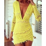 Packet Buttock Sexy Style Plunging Neck Long Sleeve Women's Lace Dress yellow