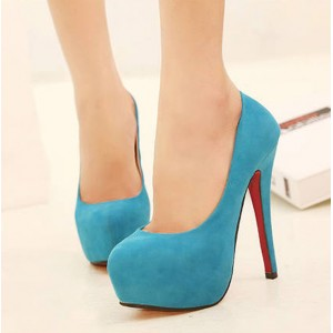 Party Women's Pumps With Suede and Round Toe Design red blue black