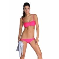 Pink Bandeau Bikini Swimsuit Grey Vest Tunic