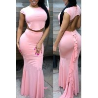 Pink Ruffle Maxi Skirt Set