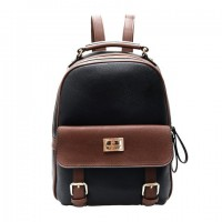 Preppy Women's Satchel With Color Block and PU Leather Design Backpack Black