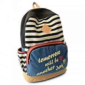 Preppy Women's Satchel With Letter Print and Stripe Design Backpack black blue red