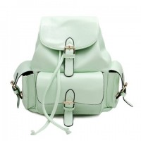 Preppy Women's Satchel With Solid Color and Buckle Design green purple black