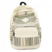 Preppy Women's Satchel With Stripe and Canvas Design off white