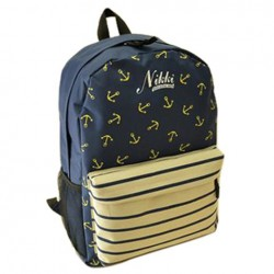 Preppy Women's Satchel With Striped and Anchor Design blue