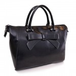 Pretty Women's Shoulder Bag With Solid Color and Bow Design Black