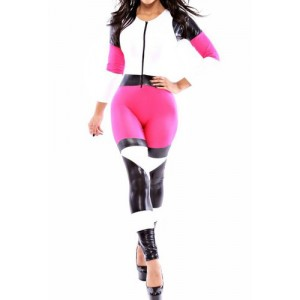 PU Leather Splicing Long Sleeve Round Neck Color Block Jumpsuit For Women pink black