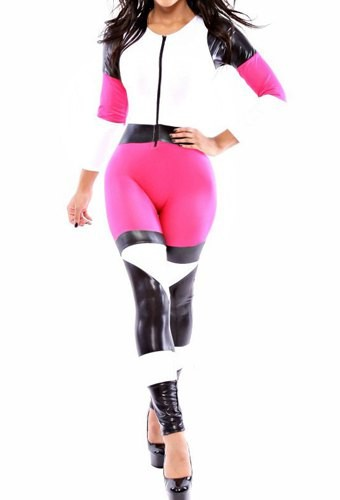 PU Leather Splicing Long Sleeve Round Neck Color Block Jumpsuit ...