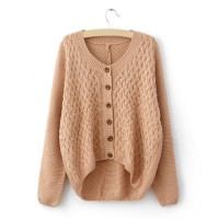 PU Leather Splicing Single-Breasted Acrylic Refreshing Style Long Sleeves Sweater For Women white pink