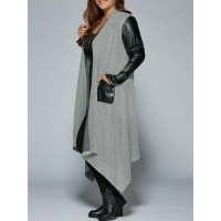 PU Patchwork Irregular Hem Coat