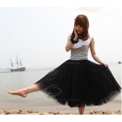 Refreshing Elastic Waist Puff Five layers Voile Multicolor Skirts For Women Black