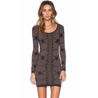 Retro Long Sleeve Body-conscious Print Dress