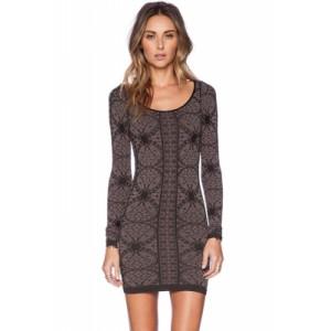 Retro Long Sleeve Body-conscious Print Dress