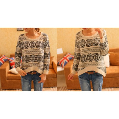 Retro Style Long Sleeves Scoop Neck Acrylic Floral Print Sweater For Women beige red navy