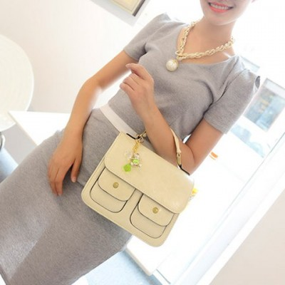 Retro Women's Shoulder Bag With PU Leather and Pendant Design White