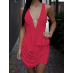 Rose Color Drapped Sleeveless Plunging Neck Bare Back Club Dress