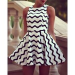 Round Neck Sleeveless Stripe Graphic Wave Cute Dress White Black