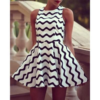 Round Neck Sleeveless Stripe Graphic Wave Cute Dress White Black