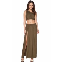 Safari Green One-shoulder Crop Top Boba Skirt Set