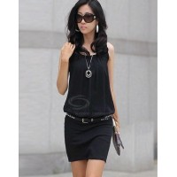 Scoop Neck Ruffle Sleeveless Chiffon+Cotton Dress Black
