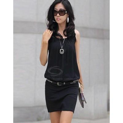 Scoop Neck Ruffle Sleeveless Chiffon+Cotton Dress Black