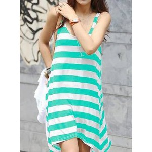 Scoop Neck Sleeveless Striped Loose-Fitting Dress Red Green Black