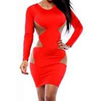 See-Through Design Mesh Splicing Long Sleeve Round Collar Sexy Dress For Women red